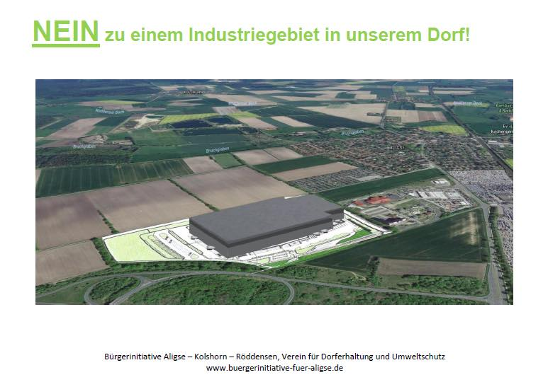 Geplanter Neubau des Aldi-Logistikzentrums in Aligse